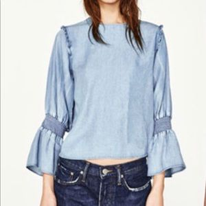 Zara Woman Premium Collection Chambray Bell Sleeve